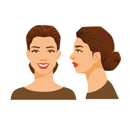 Vectorillustratie van het gezicht van de vrouw op witte achtergrond. Verschillende beurten hoofden. Gezicht in zijaanzicht en vooraanzicht. Vrouwen met een schoofkapsel