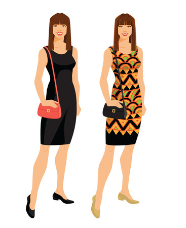 Vector illustration of woman with dark long hair in different dress isolated on white background.