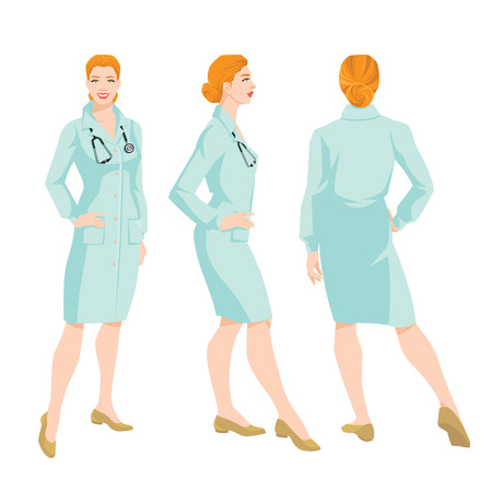 white coat: Vector illustration of a woman doctor in medical gown on white background. Various turns womans figure. Front view, back and side view.
