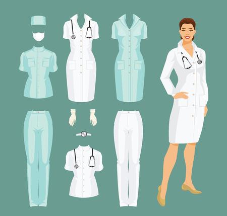 Ilustración vectorial de médico de la mujer en el vestido médico. Pantalones médicos, chaqueta, vestido, gorra, guantes y máscara aislados sobre fondo de color.