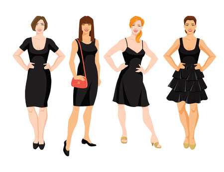 Vector illustration of different model of little black dress. Young women with different hairstyle isolated on white background.