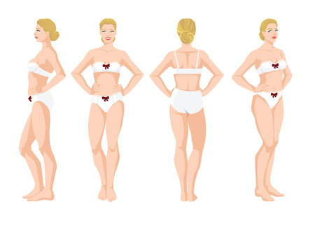 Vector illustration of beautiful woman in underwear on white background. Various turns womans figure. Side view, front view, back and half-turn view Illustration