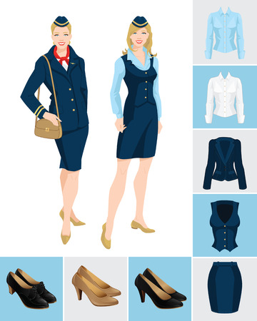 Vector illustration of corporate dress code. Formal suit and shoes isolated on color background. Young women in uniform.