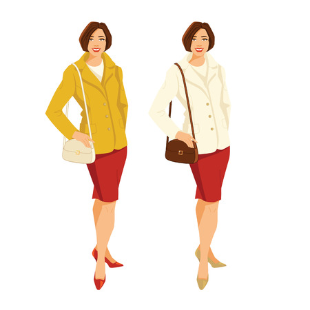 A Vector illustration of brunette woman in jacket and red skirt isolated on white background.