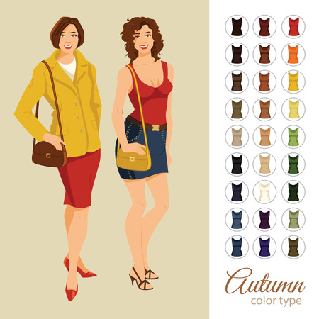 Vector illustration of seasonal color palette for autumn type. Young woman in different clothes Illustration