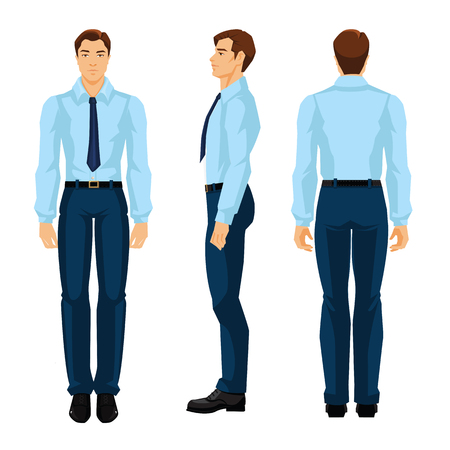Vector illustration of business man in formal blue shirt and pants isolated on white background. Various turns man's figure. Front view and side view. Vettoriali