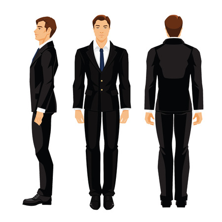 Vector illustration of business man in formal white shirt and black suit isolated on white background. Various turns man's figure. Side view, front and back view Vettoriali