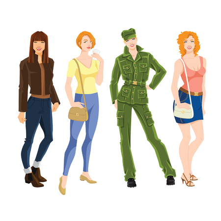 Vector illustration of young woman in different style of clothes. Woman with different hairstyle isolated on white background