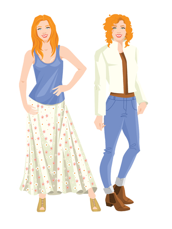 Vector illustration of redhead woman in different clothes. Women with various hairstyle isolated on white background