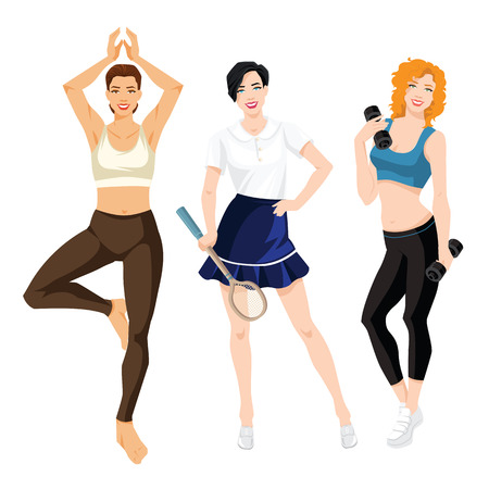 ide: Vector illustration of young girls in sport clothes isolated on white background Illustration