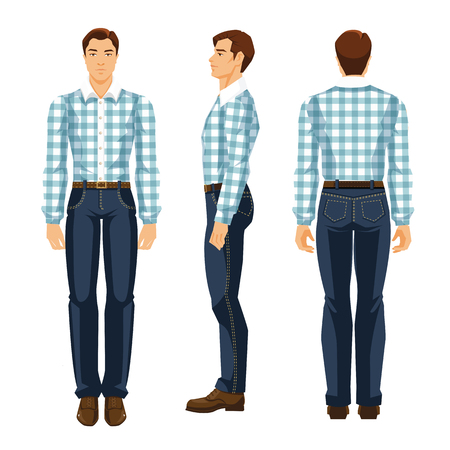 Vector illustration of young man in blue jeans and shirt with tartan pattern. Various turns man's figure. Front view, side view and back view.