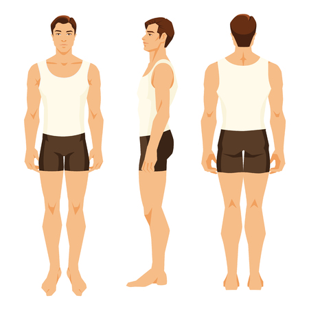 Vectordieillustratie van de jonge mens in ondergoed op witte achtergrond wordt geïsoleerd. Verschillende keren het figuur van de mens. Vooraanzicht, zij- en achteraanzicht. Stockfoto - 83075499