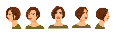 ide: Vector illustration of beautiful womans face on white background. Various turns heads. Face in front view and face in side view.