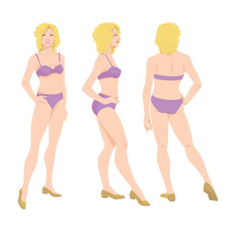Vectorillustratie van mooie vrouw in ondergoed op witte achtergrond. Verschillende bochten vrouw figuur. Vooraanzicht, zij- en achteraanzicht.