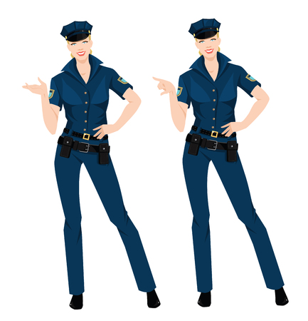 Vector illustration beautiful policewoman in uniform and hat isolated on white.