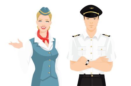 Vector illustration of pilot and stewardess in formal clothes on white background. Ilustração