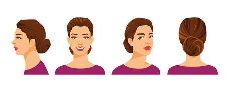 ide: Vector illustration of womans face on white background. Various turns heads. Face in side view, front view, half-turn and back view. Women with sheaf hairstyle