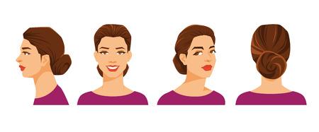 Vectorillustratie van het gezicht van de vrouw op witte achtergrond. Verschillende beurten hoofden. Gezicht in zijaanzicht, vooraanzicht, halve bocht en achteraanzicht. Vrouwen met een schoofkapsel