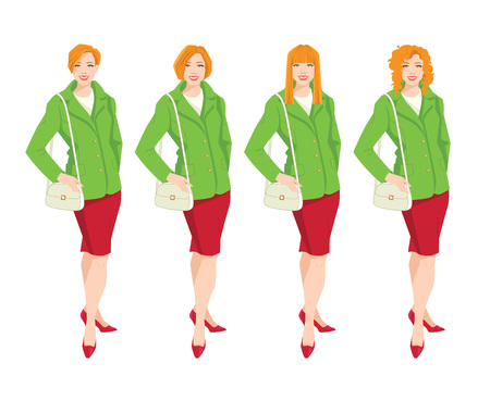 Vector illustration of redhead women with different haircut. Woman in green jacket and red skirt isolated on white background