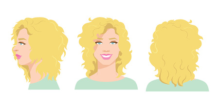 ide: Vector illustration of beautiful womans face on white background. Various turns heads. Face in front view, side and back view.