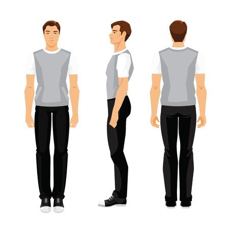 흰색 배경에 고립 된 스포츠 옷에서 젊은 남자의 벡터 일러스트 레이 션. 다양 한 남자의 그림을 설정합니다. 전면보기, 측면보기 및 후면보기.