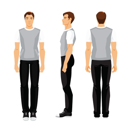 Vectordieillustratie van de jonge mens in sportkleren op witte achtergrond wordt geïsoleerd. Verschillende keren het figuur van de mens. Vooraanzicht, zijaanzicht en achteraanzicht. Stockfoto - 83585803