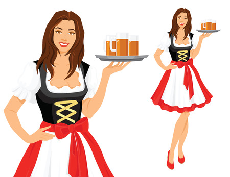 Vector illustration of Oktoberfest in a traditional bavarian dress, serving beer isolation on a white background.