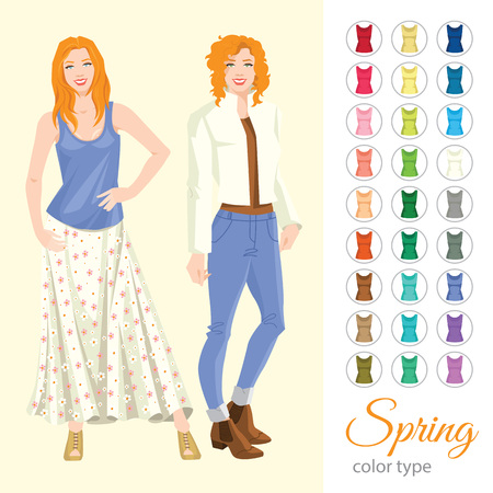women s clothes: Vector illustration of seasonal color palette for spring type. Redhead woman in different clothes