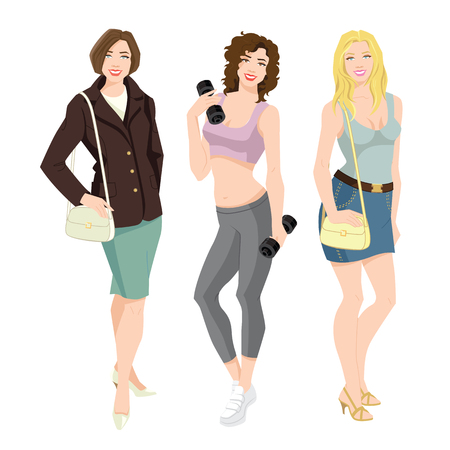 Vector illustration of young woman in different clothes. Woman with various hairstyle isolated on white background