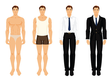 Vector illustration of men in different clothes isolated on white background Illustration