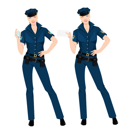 duty belt: Vector illustration beautiful policewoman in uniform and hat isolated on white.