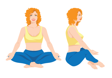 Vector illustration of a young girl in yoga pose isolated on white background. Redhead woman in clothes for sport or fitness. Various turns womans figure. Front view and side view.