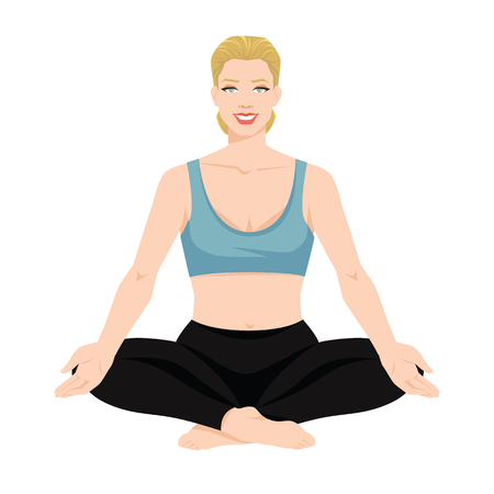 Vector illustration of a young woman in yoga pose isolated on white background. Blonde woman in clothes for sport or fitness. Illustration