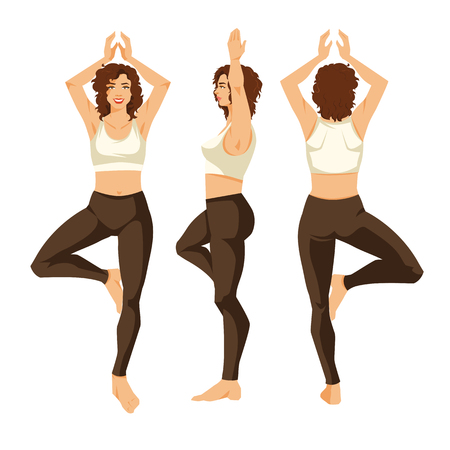 Vector illustration of a young girl in yoga pose isolated on white background. Woman in clothes for sport or fitness. Various turns womans figure. Front view, side and backview.