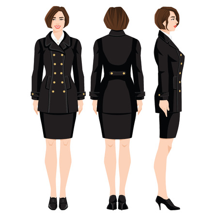 Vector illustration of professional girls in formal clothes isolated on white background. Various turns woman's figure. Side view, front and back view. Woman in black coat in military style.