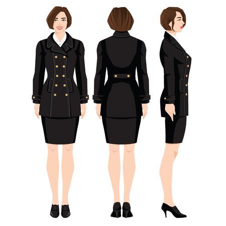 Vectorillustratie van professionele meisjes in formele die kleren op witte achtergrond worden geïsoleerd. Verschillende bochten vrouw figuur. Zijaanzicht, voor- en achteraanzicht. Vrouw in zwarte laag in militaire stijl. Stockfoto - 85101422