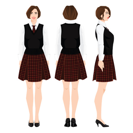 Vector illustration of young girl in school or academy uniform and shoes on a flat heel on white background. Formal skirt with tartan pattern. Various turns woman's figure. Front view and back view.