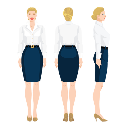 Vectorillustratie van vrouw in formele blauwe rok, witte blouse en schoenen op hoog hiel op witte achtergrond. Verschillende bochten vrouw figuur. Vooraanzicht en achteraanzicht.