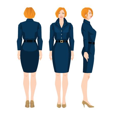 Illustratie van vrouw in formele blauwe rok, witte blouse en schoenen op hoge hakken.