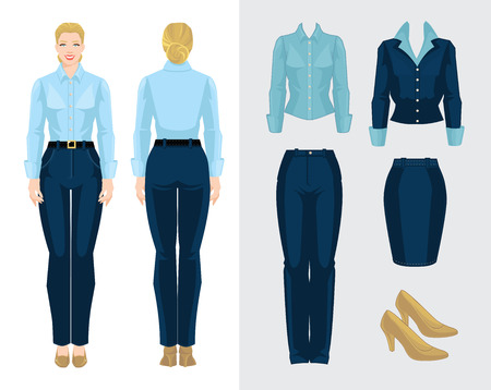 Bedrijfsvrouw of secretaris in formele kleding. Stock Illustratie
