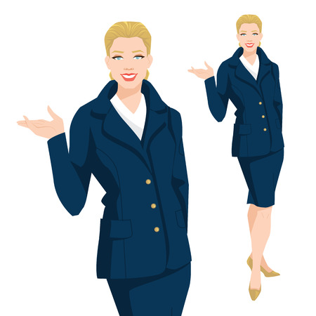 Vector illustration of corporate dress code. Business women in blue formal skirt and jacket.