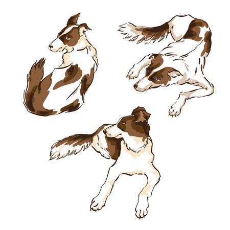 벡터 달력, 배너 또는 현수막에 대 한 흰색 배경에 귀여운 강아지의 그려진 된 그림을 손으로 그린. 중국 새 해 2018의 상징입니다. 일러스트