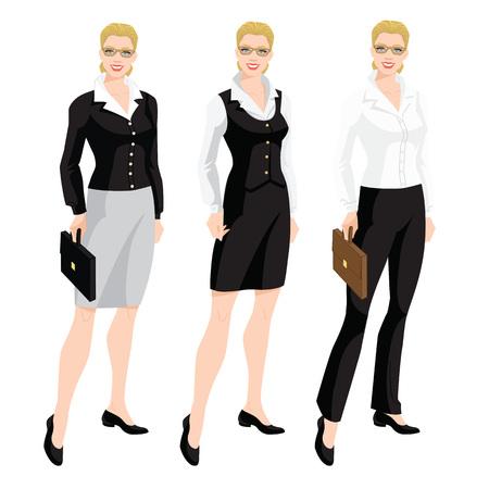 회사 드레스 코드의 벡터 일러스트 레이 션. 비즈니스 여자 또는 비서 형식적인 옷입니다. 흰 블라우스, 검은 바지, 스커트와 베이지 색 신발 흰색 배경