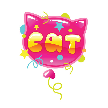 Vector illustration of a cat shape balloon with a word isolated on white background. Cartoon cat head. Çizim