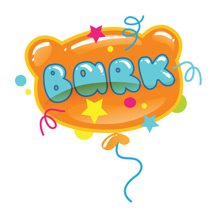 Vector illustration of balloon with word isolated on white background. Cartoon puppy or bear head. Çizim