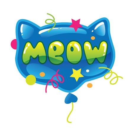 Vectordieillustratie van een ballon van de kattenvorm met een woord op witte achtergrond wordt geïsoleerd. Cartoon kat hoofd.