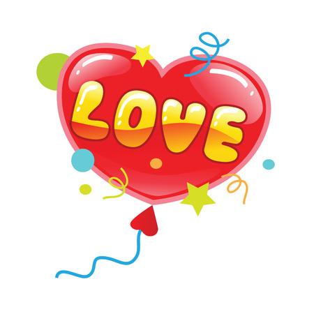 단어 사랑과 붉은 마음 풍선