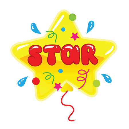Star shape balloon with word