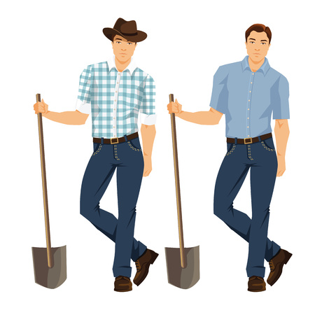 Vector illustration of a farmer with shovel isolated on white background. Young man in blue jeans, shirt and hat.