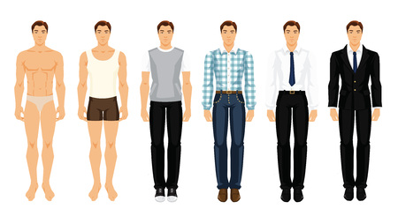 Vector illustration of young men in different clothes Çizim